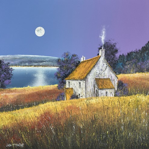 Moonrise on the River by John Mckinstry - Original Painting on Box Canvas